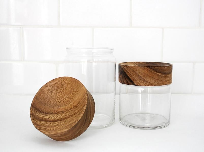 Wood and glass canisters
