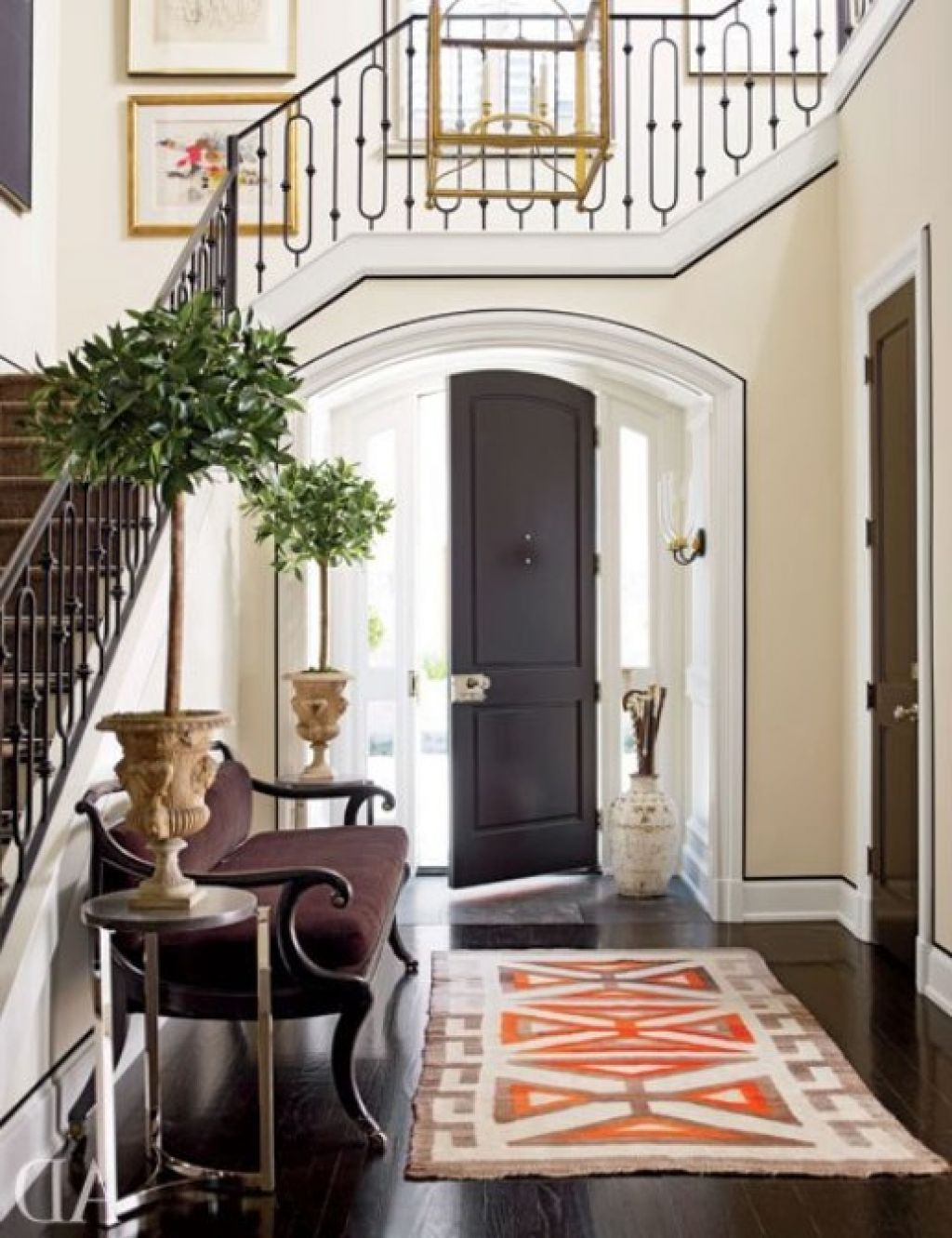 Decorating, Modern Traditional Simple Small Symmetry Entrance Hallway To Living Room Decorating