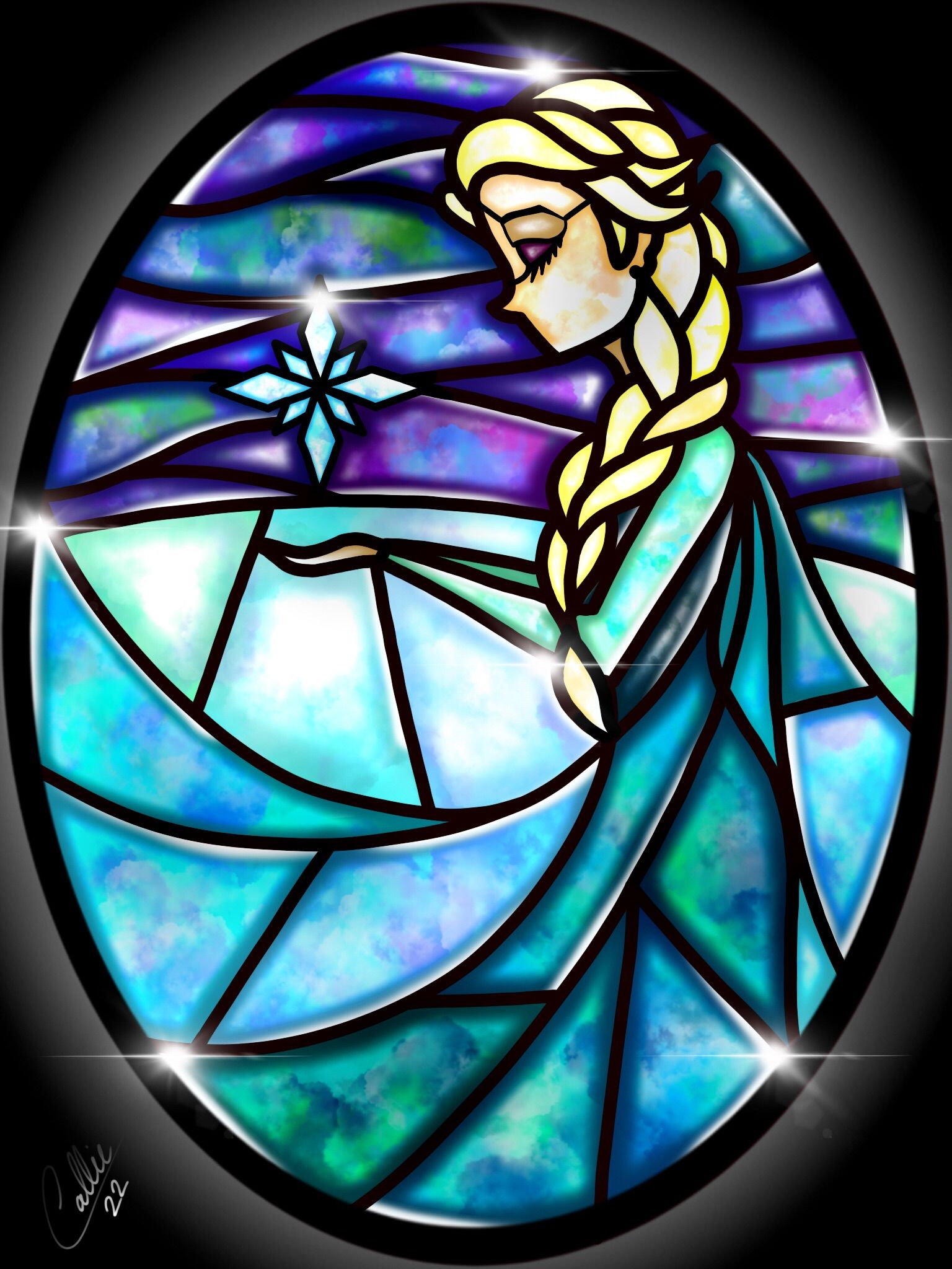 Stained Glass Elsa By Callieclara Deviantart Com On