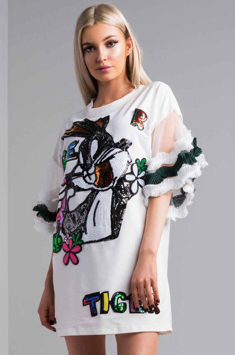 aeaa0d684f38 AKIRA Ruffle Sleeve Round Neck Sequin Bugs Bunny T Shirt Dress in White