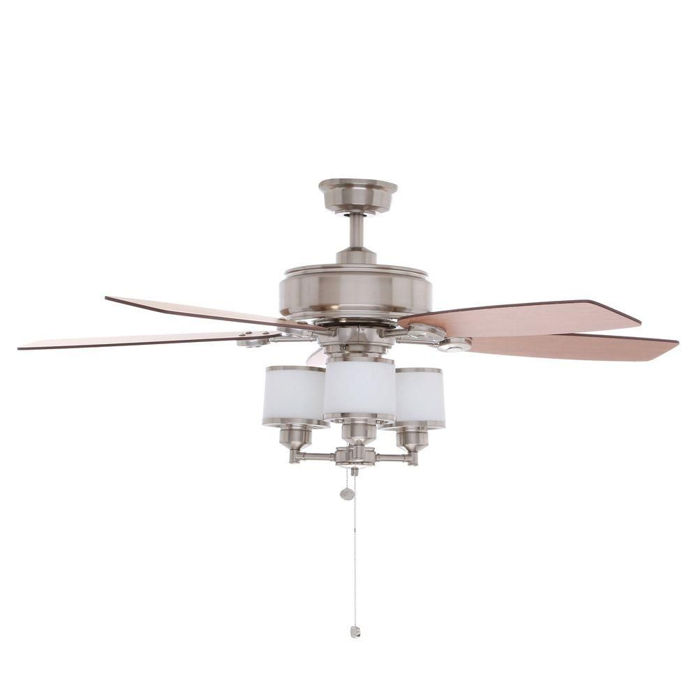 Hampton Bay Waterton Ii 52 In Indoor Brushed Nickel Ceiling Fan With Light Kit Ag510 Bn The Home Depot
