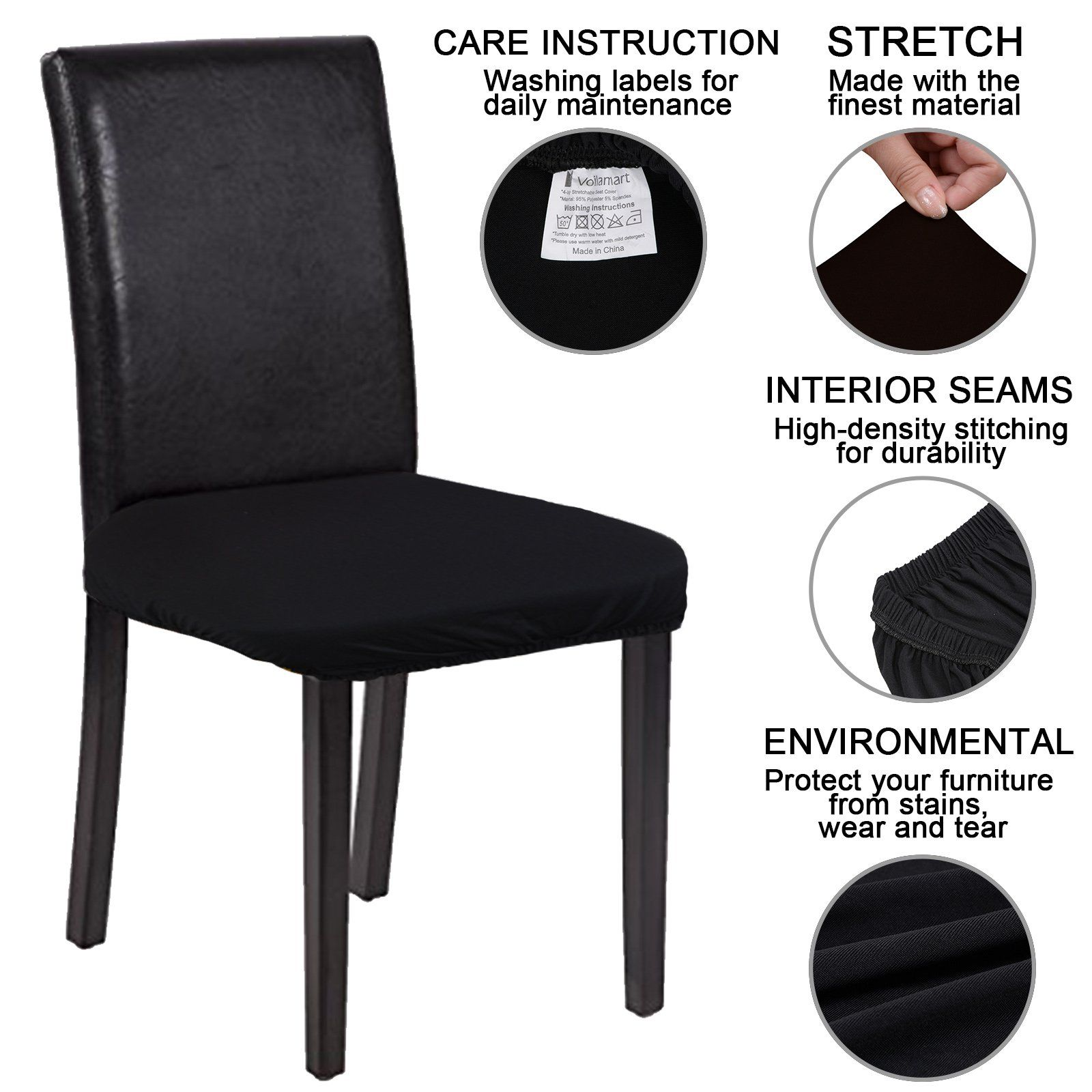 Voilamart Chair Seat Covers Stretchable Dining Chair Cover