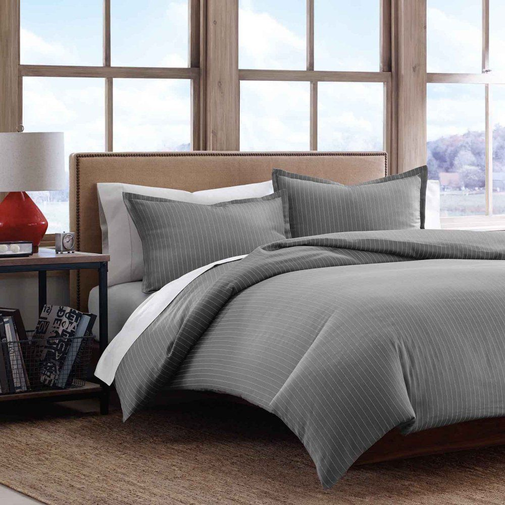 Eddie Bauer Pinstripe Cotton Sateen Duvet Cover Set - Bedding and Bedding Sets at Hayneedle