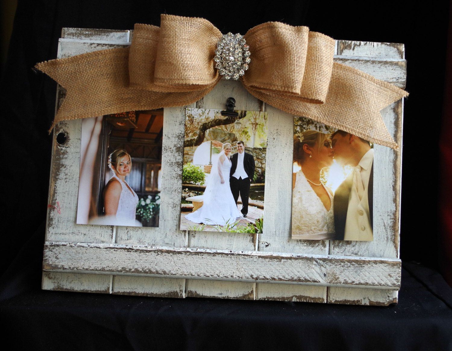 Distressed Barnwood Triple Picture Frame Collage 4x6 with Burlap Bow ...