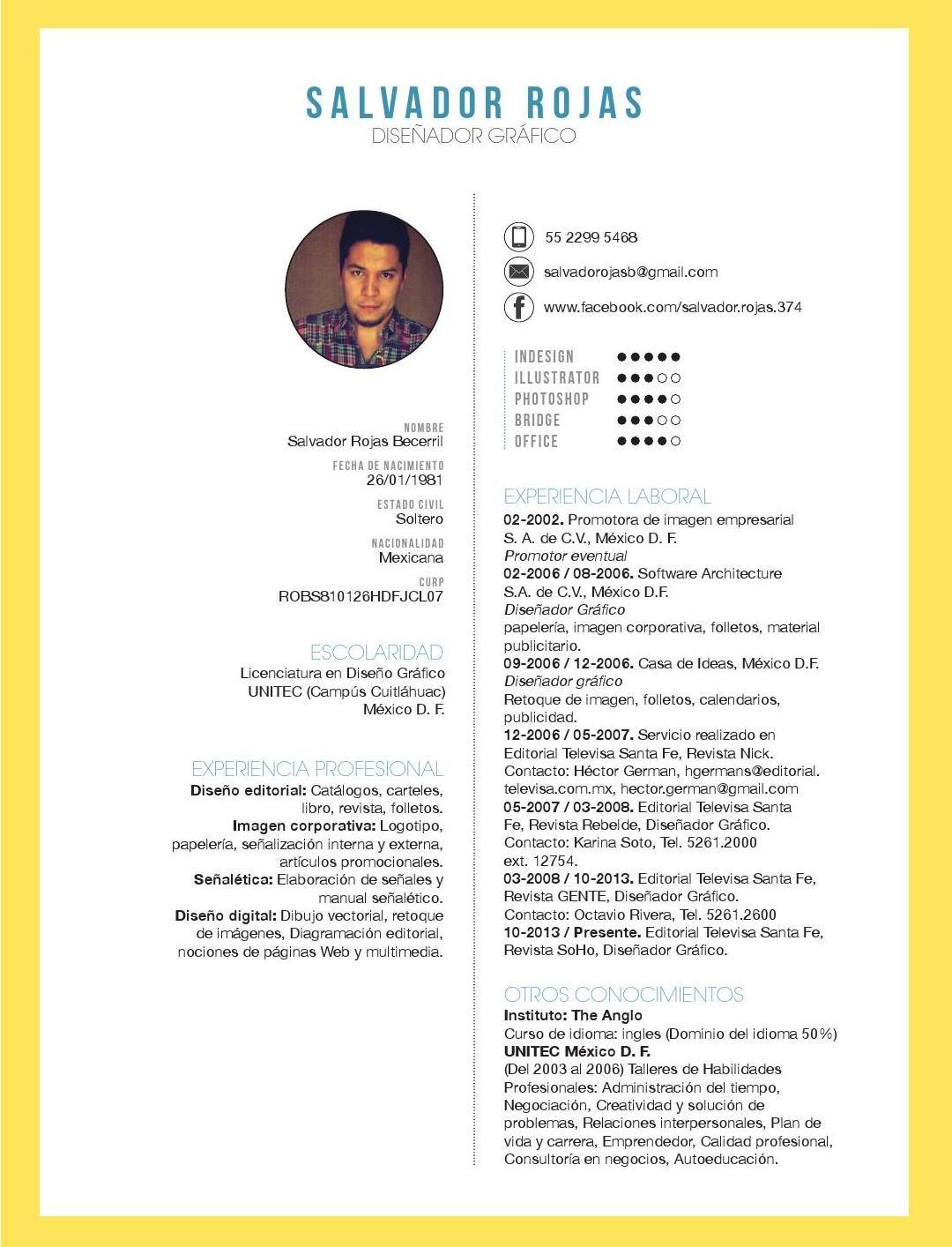 Cv salvador | Diseño | Pinterest | Currículum