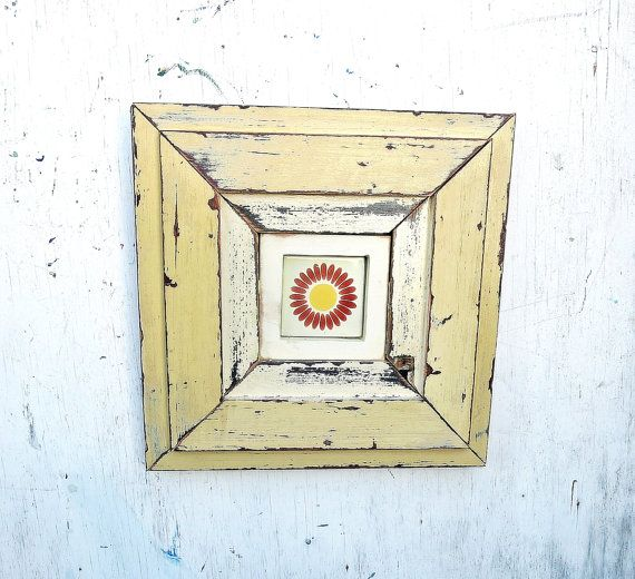 Reclaimed Wood Framed Tile, Rustic Wall Decor, Reclaimed Wood Wall ...