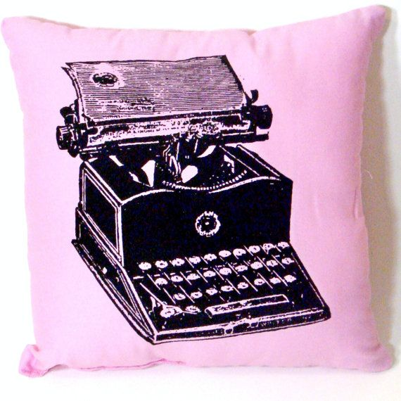 Typewriter Pillow  LIGHT PINK  12 inch by CyanideStitches on Etsy, $20.00