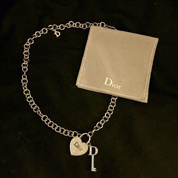 1aaced7e6b1d Christian Dior Silver Heart and Key Charm Necklace Christian Dior Silver  heart and key rhinestone charm
