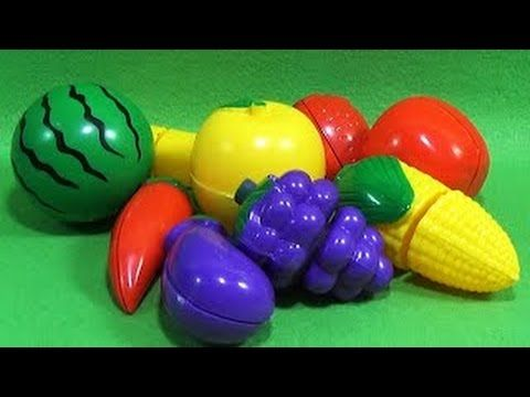 Velcro Fruits & Vegetables. Learn Names of Fruits & Vegetables. Toy Cutting Velcro. Velcro Food Toys - YouTube