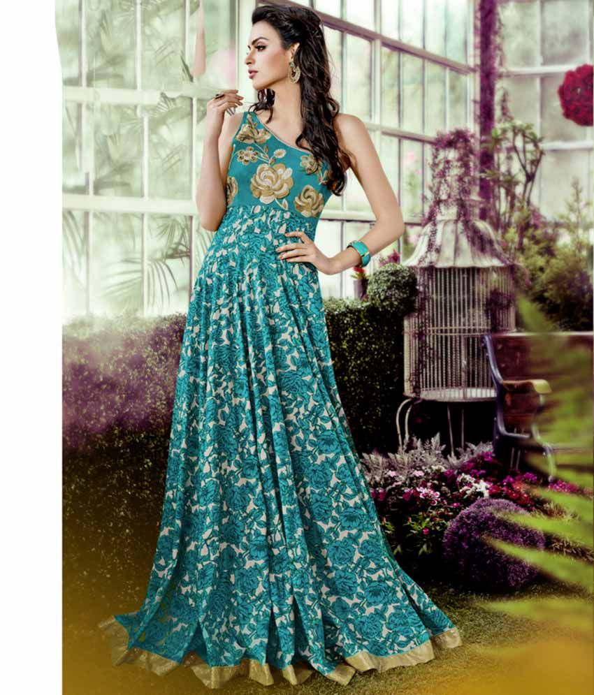 Naksh - Blue Shaded Lawn Cotton Wedding Gown | Anarkali Suits ...