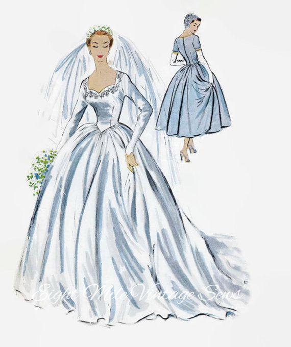 Vintage McCall\'s 9702 Sewing Pattern - Bridal Wedding Dress - 1950s ...
