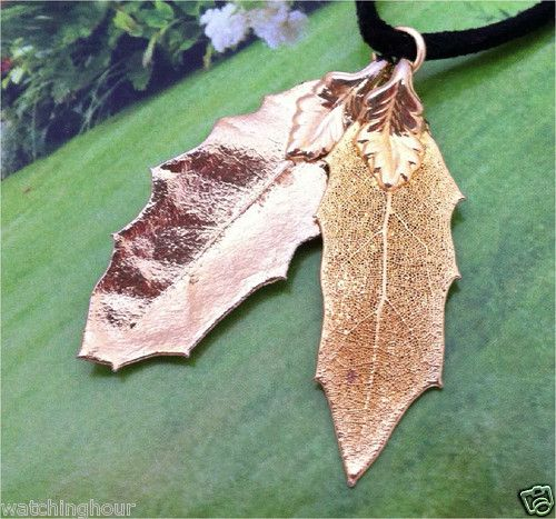 Real Leaves Jewelry Double Pointed Oak Leaf Necklace 24K Gold Two Leaves | eBay
