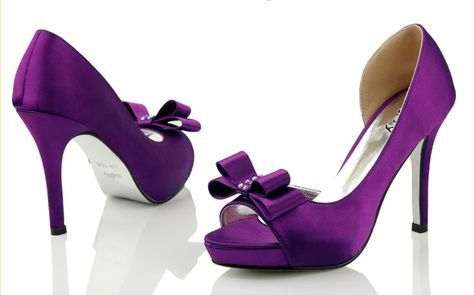 Open Toe High Heel Satin Affordable Bow Purple Wedding Shoes