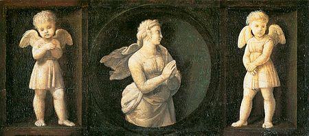 Speranza AutoreRaffaello Sanzio Data1507 TecnicaOlio su tavola Dimensioni16 cm × 44 cm  UbicazionePinacoteca vaticana, Roma