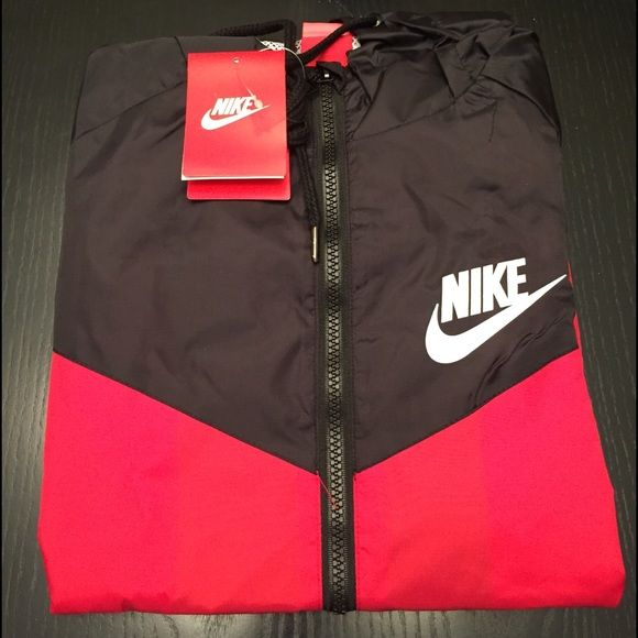 Nike windbreaker jacket Red and black Nike windbreaker jacket. Size small  In women s. Nwt. Nike Jackets   Coats Utility Jackets 21fef2bbe