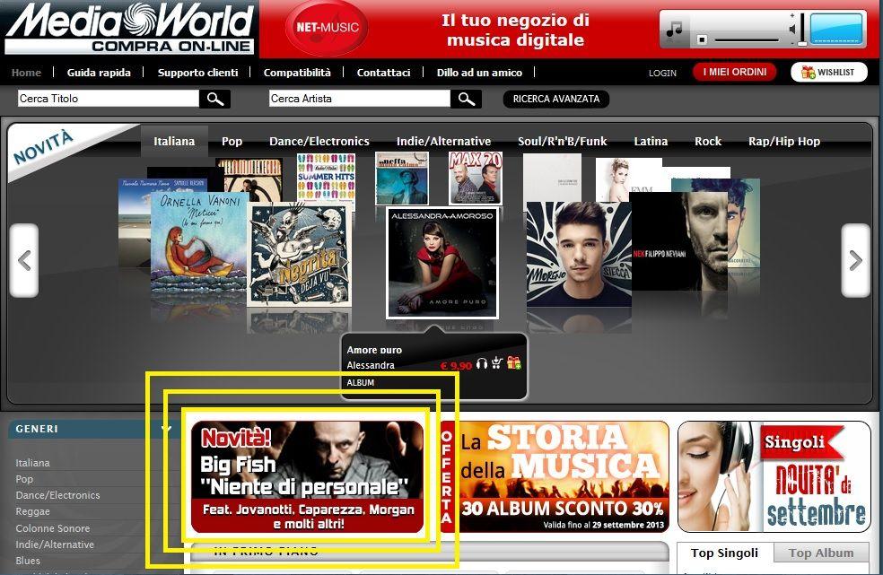 Niente di personale, banner in Home Page su Mediaworld