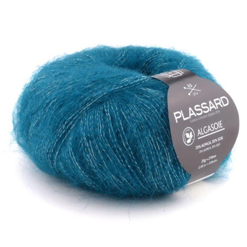 10 pelotes de laine 50/% soie bleu canard// fabriqué en FRANCE