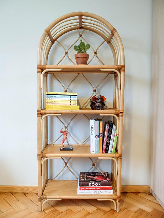 Rattan Shelf Vintage Bamboo Bookshelf