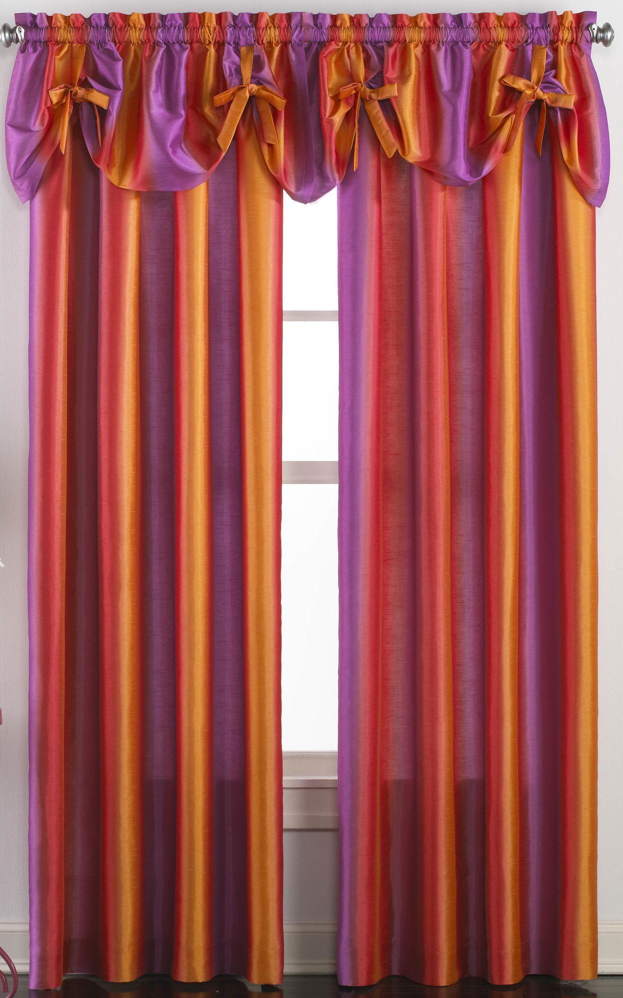 Rainbow Ombre Curtain Panel Faux Silk Curtains Girls Bedroom Curtains Ombre Curtains