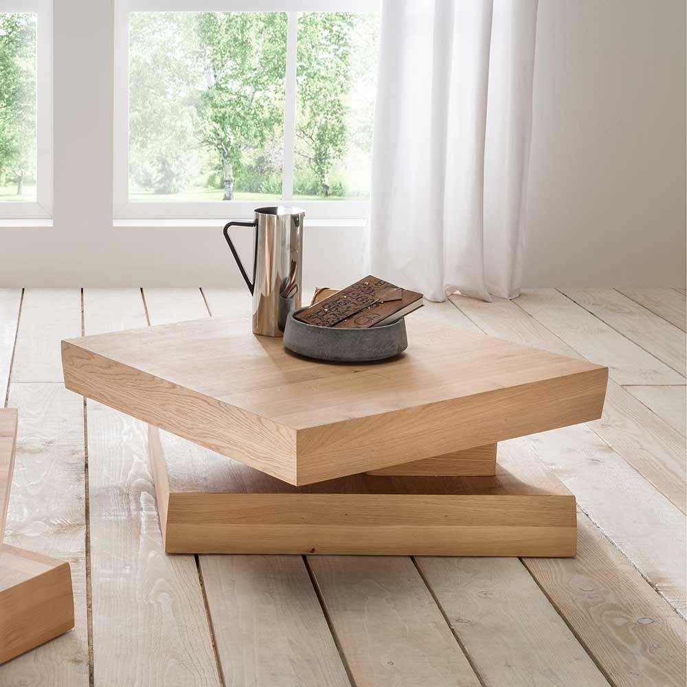 Wildeiche couchtisch mit drehbarer tischplatte modern for Designer couchtisch wildeiche