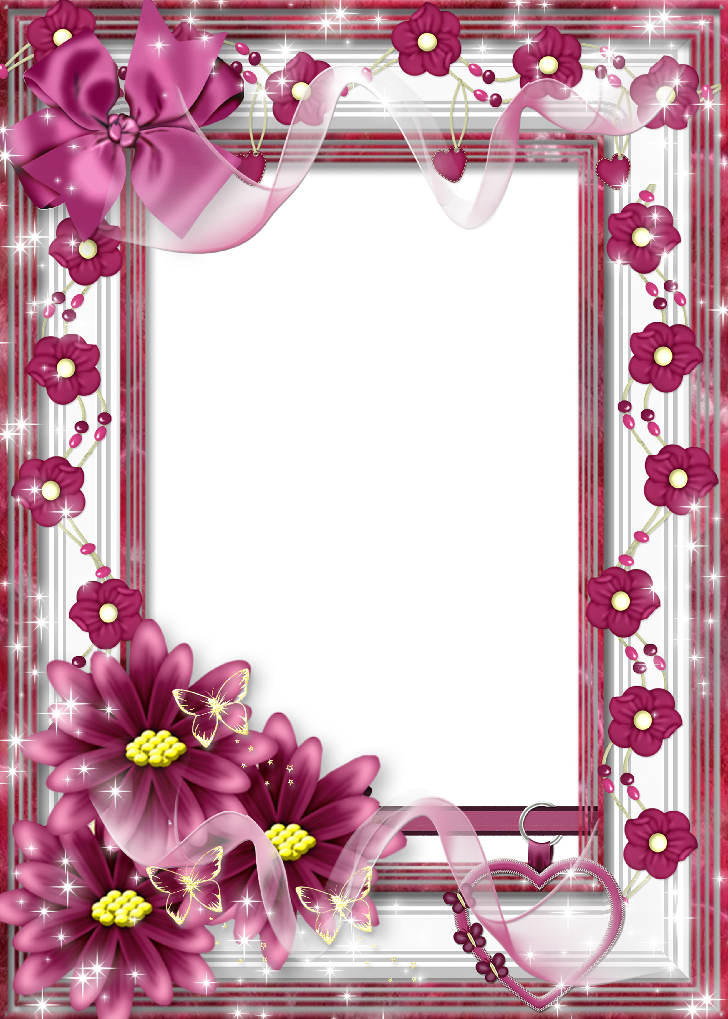 Beautiful flower transparent frame with pink bow category frames for lovers jeuxipadfo Images
