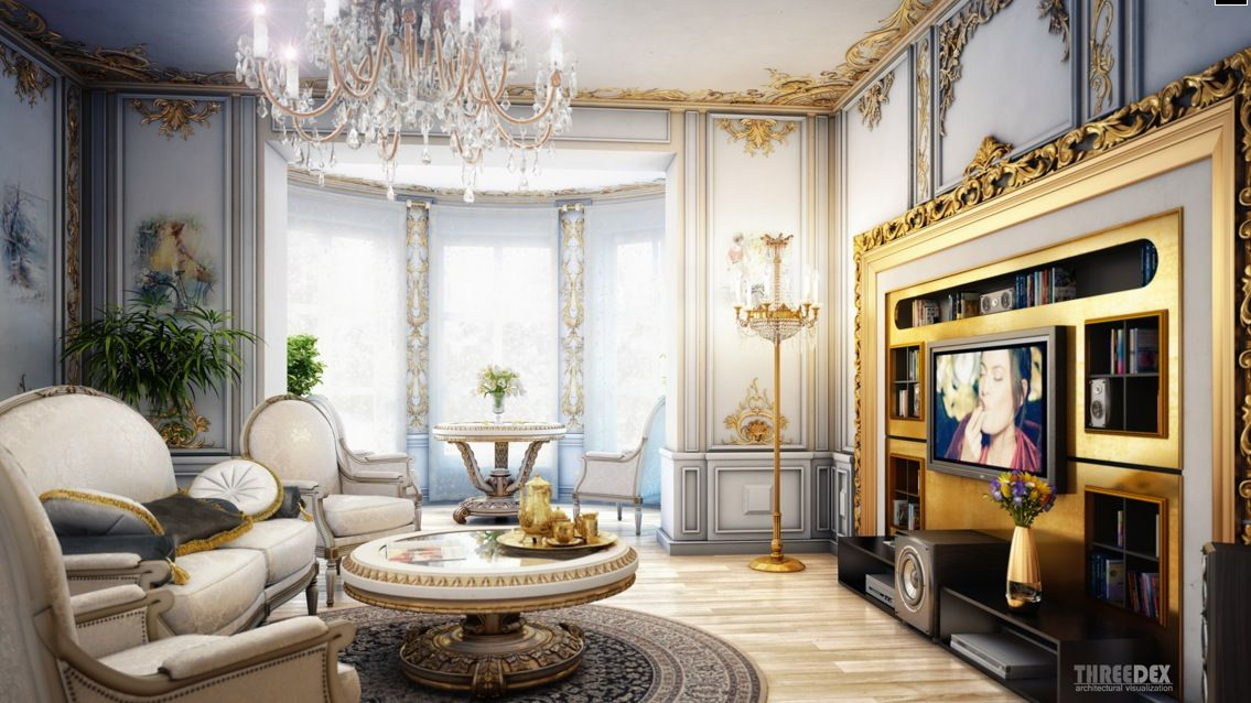 Interior design royal classic living room beautiful for Classic decoration home