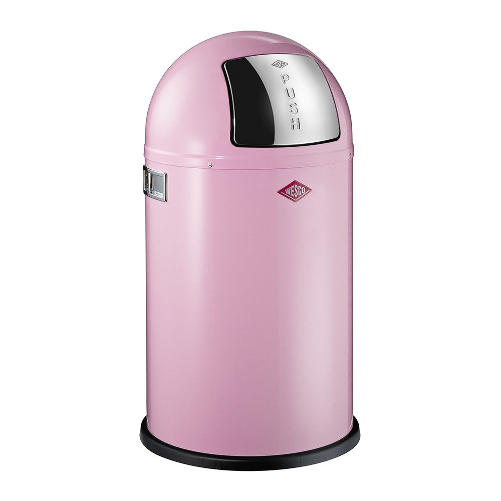 12 Liter 3 Gallon Pink Bathroom Bedroom Waste Basket Round Waste Bin Soft Close Small Retro Vintage Home Metal Garbage Bin For Office Foot Pedal Step Bathroom Trash Can With Lid Glossy Pink