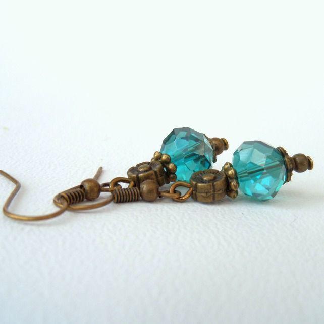 Green crystal bronze earrings, vintage inspired earrings by Beadstorm Jewellery