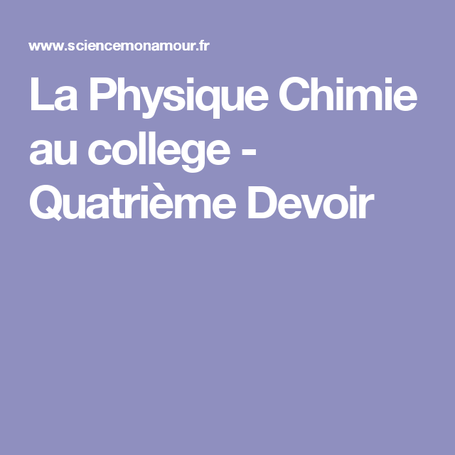 Pin On Physique Chimie