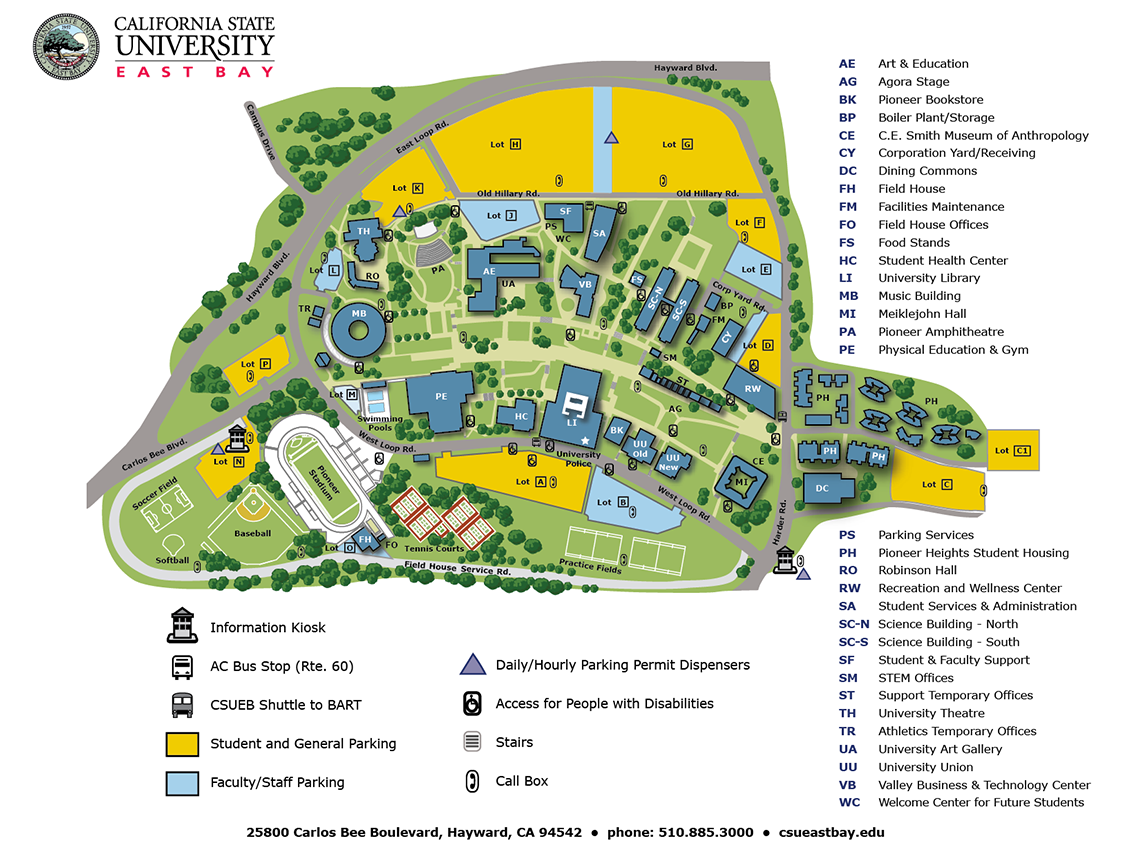 CSUEB Hayward Campus Map | Softball Diamonds are a girls best