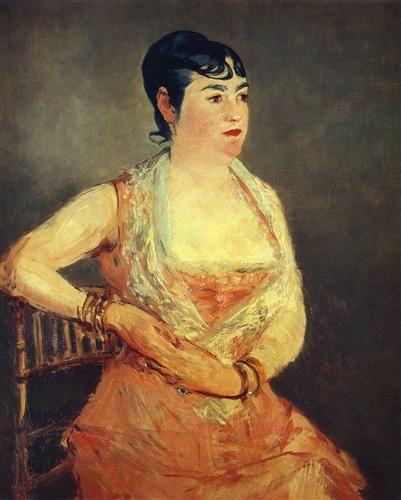 Jeanne Martin in pink dress - Edouard Manet