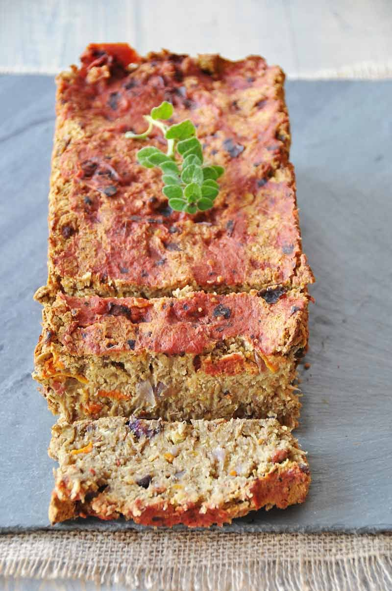 Lentil loaf with roasted carrots onion portobellos