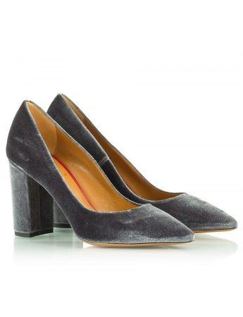 Grey velvet high block heel pumps | Fratelli Karida