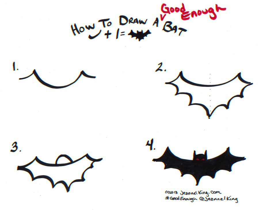 How To Draw A Good Enough Bat Three Ways Bullet Journal