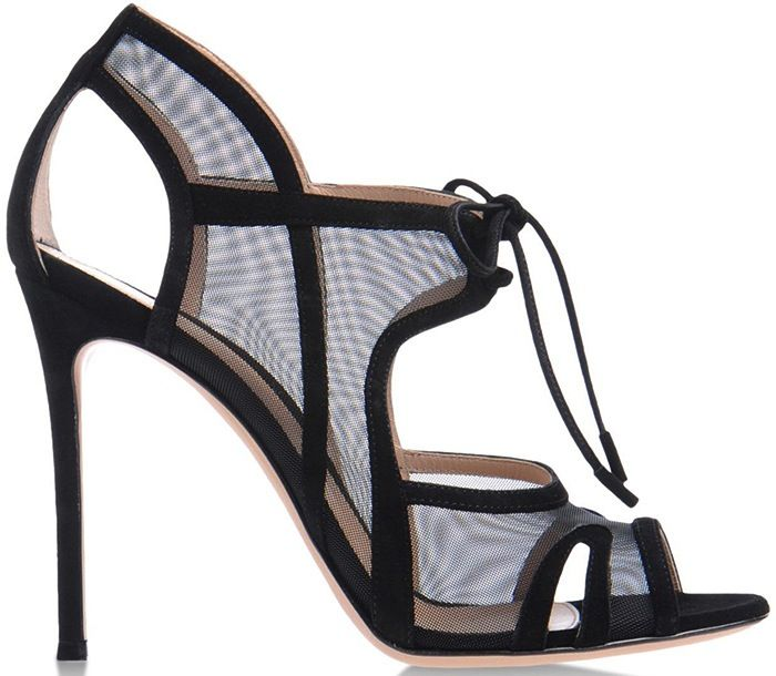 Gianvito Rossi Cruise 2014 Suede & Sheer Mesh Sandals - Cynthia Reccord