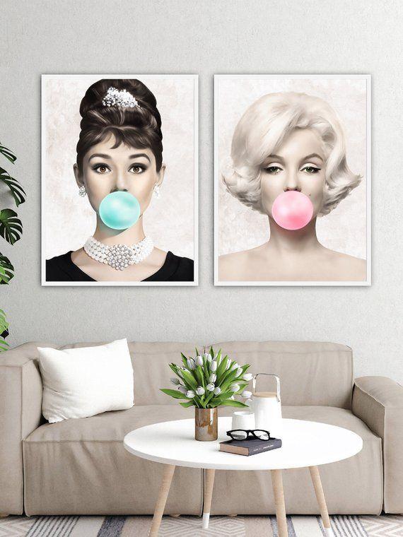 15a437d479 Set of 2 Prints Audrey Hepburn Bubble Gum