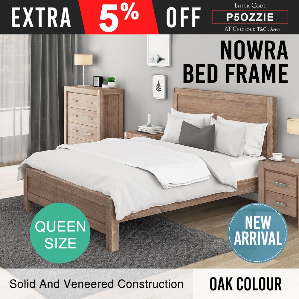 Details About Bed Frame Queen Solid Frames Mdf Veneered Acacia