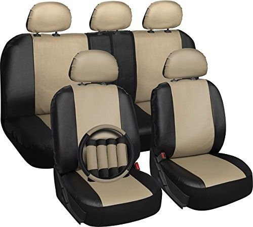 OxGord Back Seat Cover Truck Van 8 Piece SUV PU Leather with Two-Toned Rear Bench Universal Fit Car
