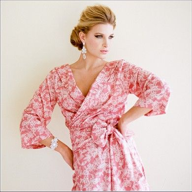 Plum pretty sugar knee robe in pale red, blue, green and yellow $68