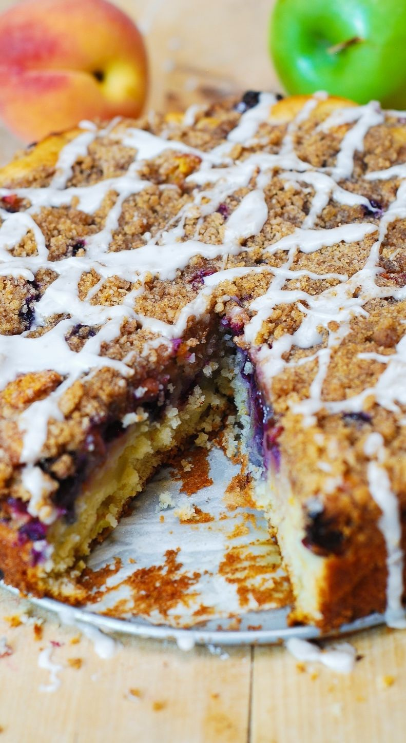 The perfect coffee cake for the summer: with blueberries, apples, and peaches!  With extra crumb topping! (springform pan recipes)