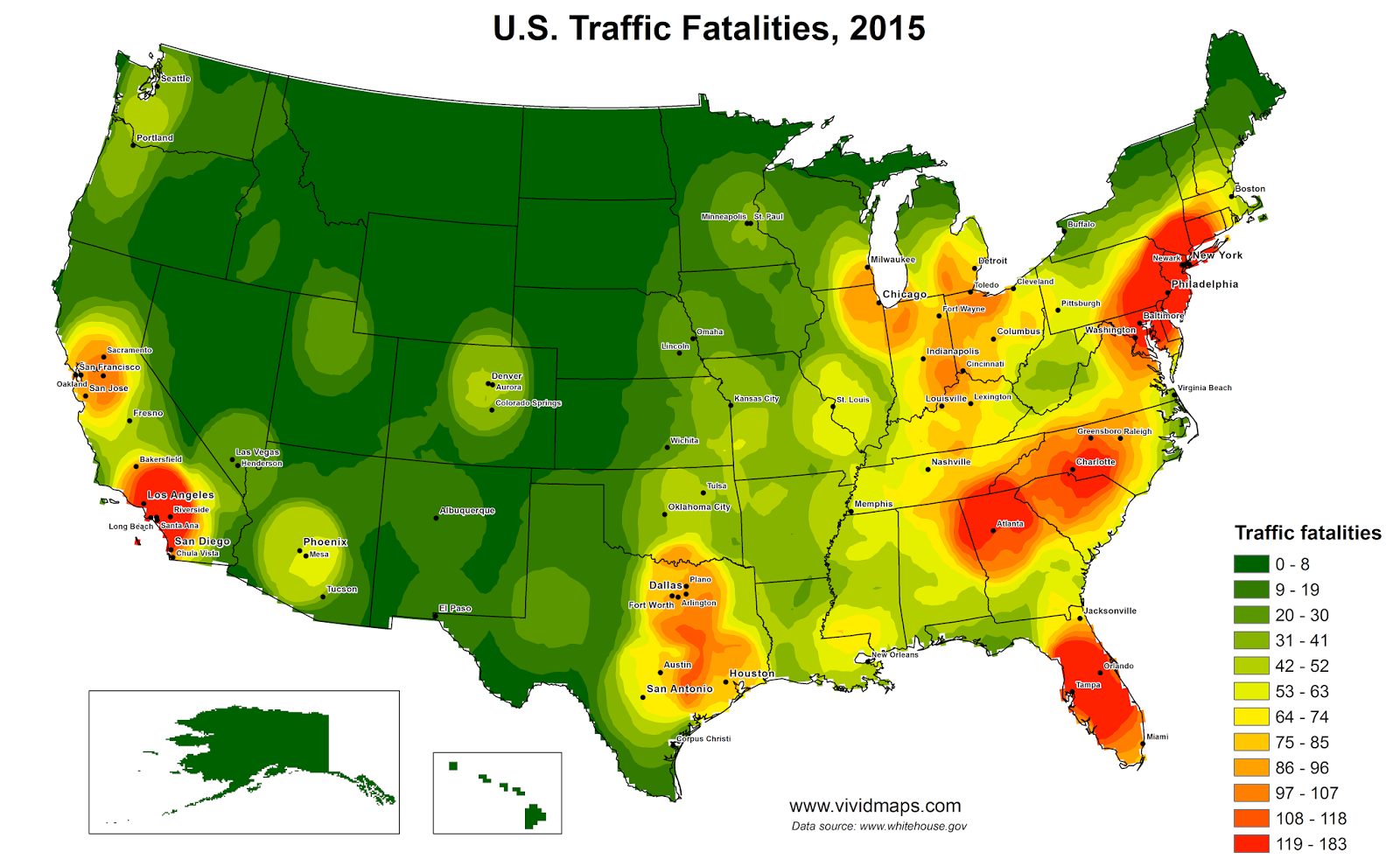 United States Traffic Fatalities Heat Map (2015) Heat