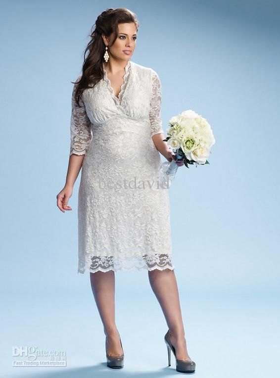 Ivory Luxe Lace Plus Size Beach Wedding Dresses V Neck Tea Length Three Quarter Sleeves Custom Made