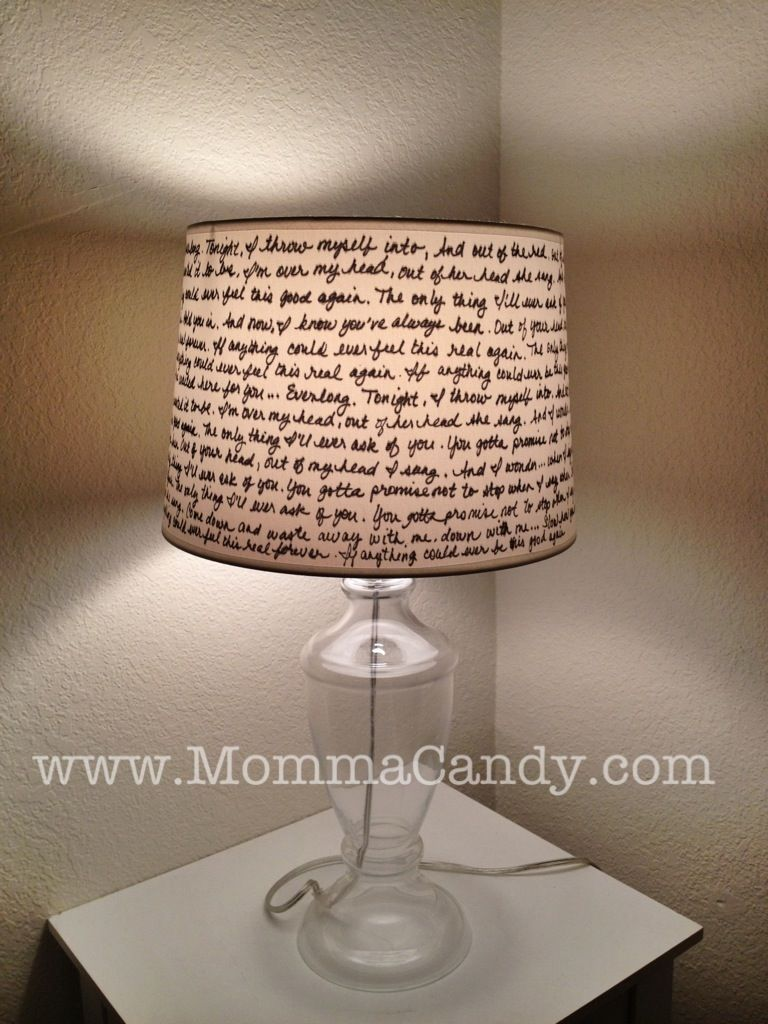 DIY Quote Lampshade - Quote someone famous - maybe Stokes and Baer ... for how to make a lampshade out of anything  284dqh