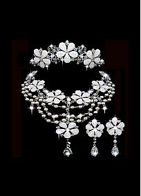 Fashionable First-class Austrian Rhinestone & Alloy Wedding Jewelry Set,Including Necklace,Tiara And Earrings