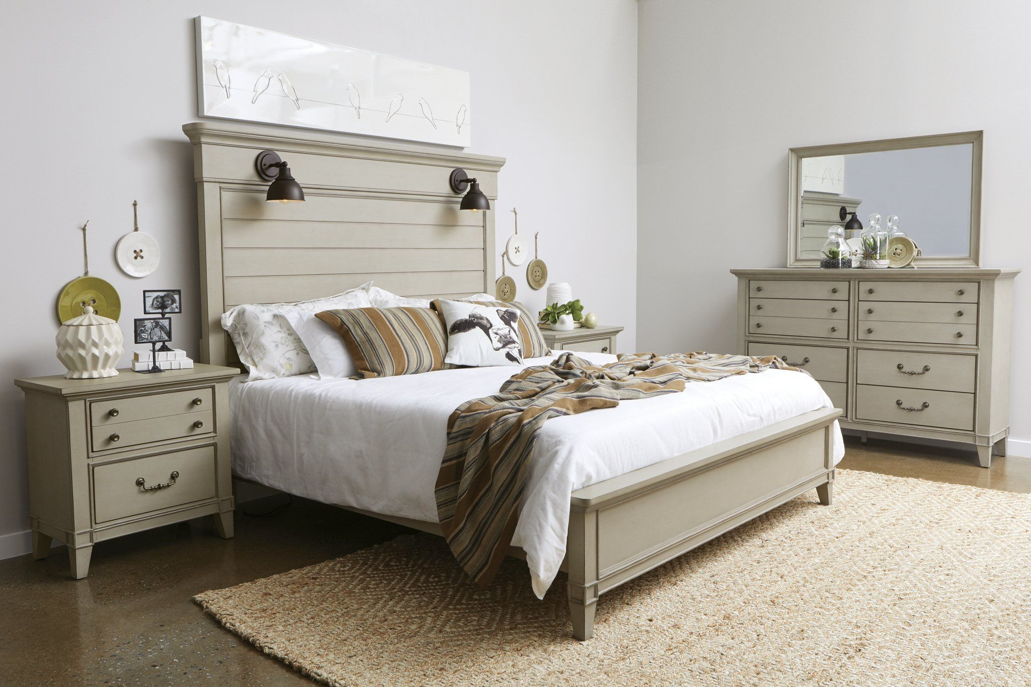 rustic taupe 4 piece queen bedroom set - sausalito | king