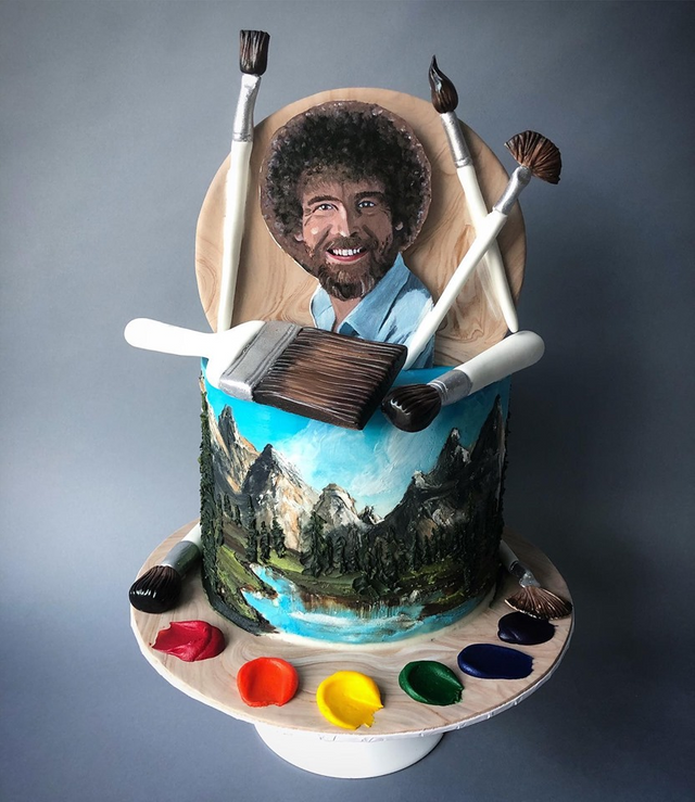 I hand painted this Bob Ross cake with buttercream