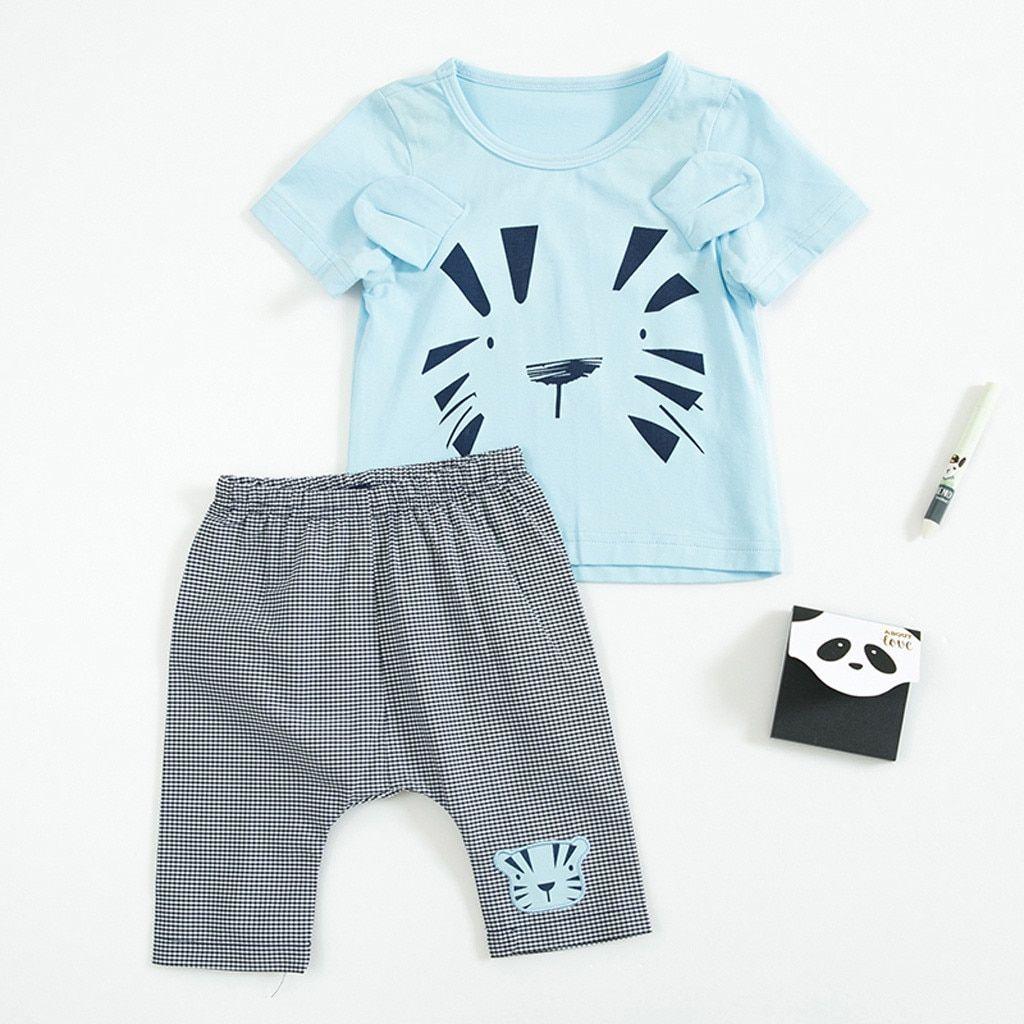 2baaf237a Boy Summer Suit Infant Baby Boy Kid Cartoon Printed 3D Ears T Shirt Tops+ Pants