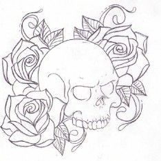 Horror Part 5 Skull And Rose Drawing Skull Coloring Pages Skull Drawing Tattoo