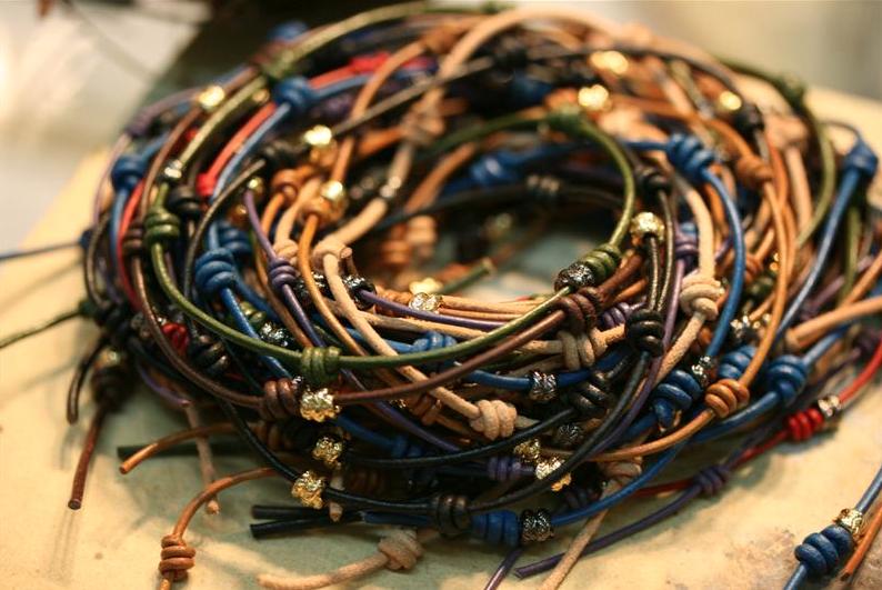leather knotted wraparound bracelets