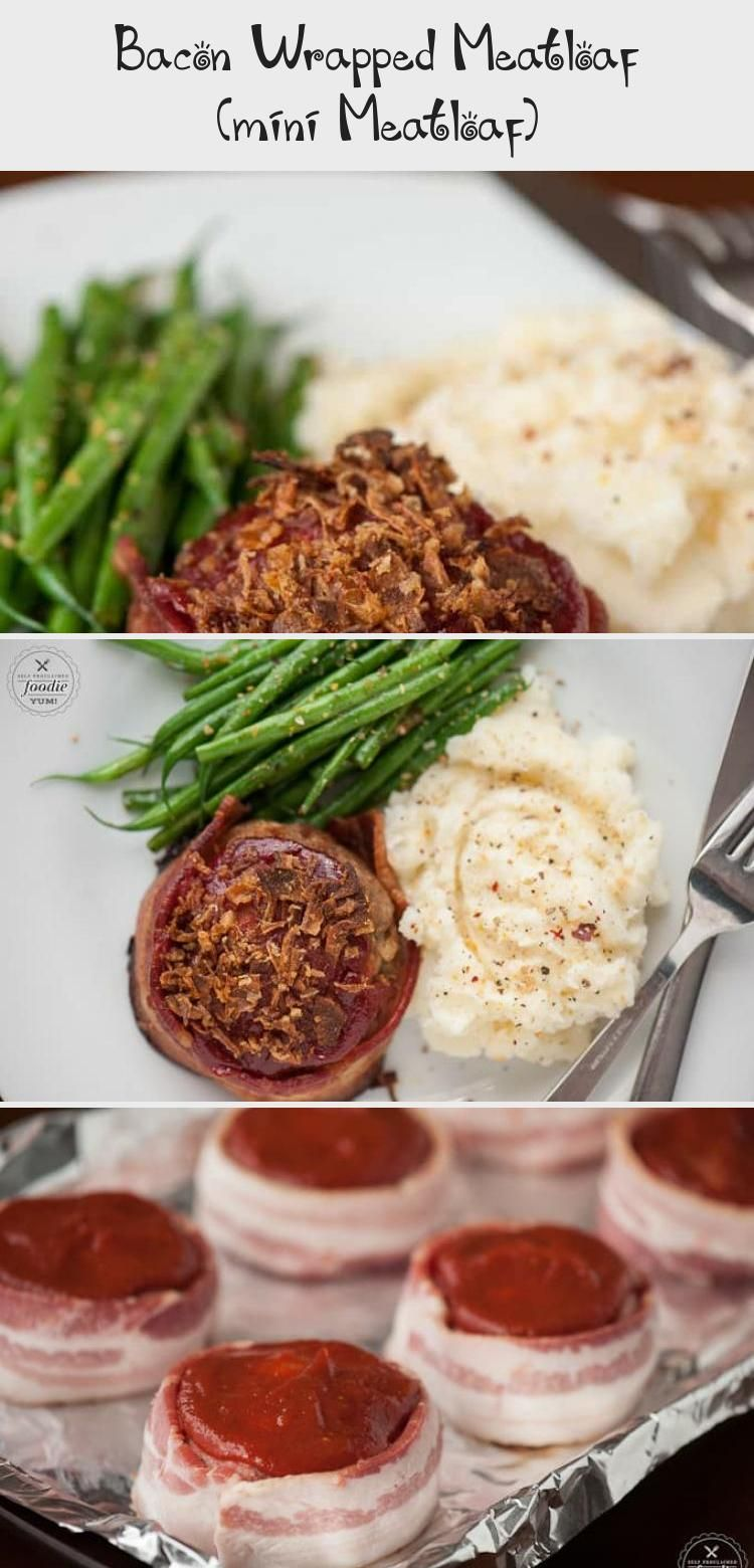 Bacon Wrapped Meatloaf is the best comfort food recipe you can make for dinner Ground beef and bacon served as mini meatloaf for individual portion sizes